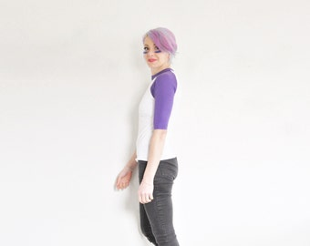 purple raglan baseball uniform tee . bad news bears team shirt .extra small.xs .sale s a l e