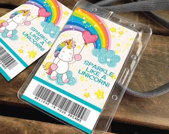 Unicorn Badges - Unicorn Favor Tag, Unicorn Party Favor, Unicorn ID Badge, Gift Tag, Thank You Tag    Instant Download DIY Printable PDF Kit
