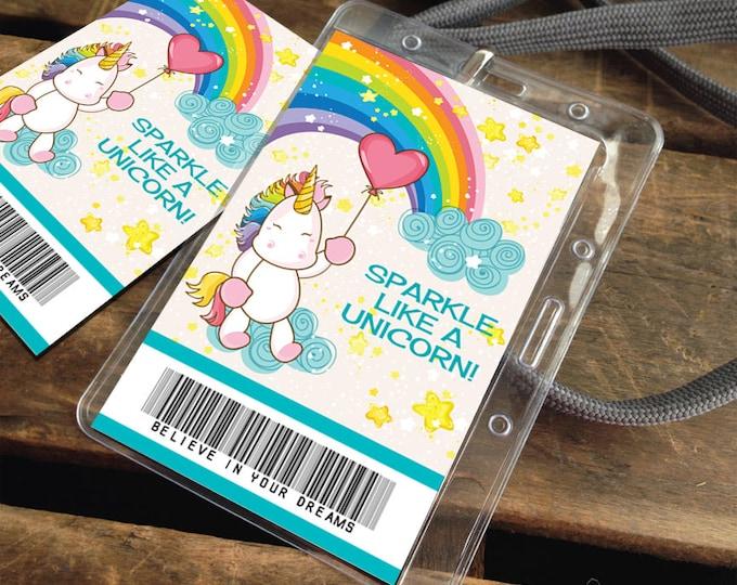 Unicorn Badges - Unicorn Favor Tag, Unicorn Party Favor, Unicorn ID Badge, Gift Tag, Thank You Tag |  Instant Download DIY Printable PDF Kit