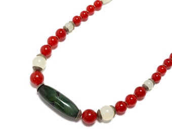 Red Jade, Green Agate, & Sterling Silver Necklace