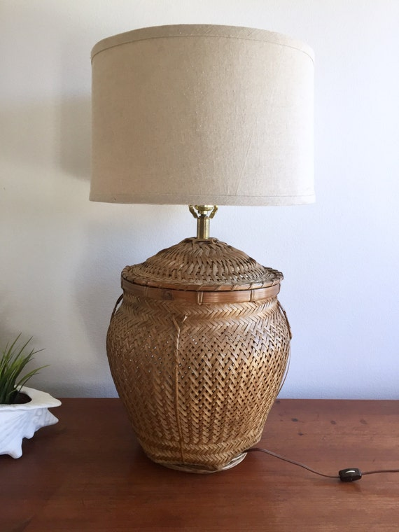 Woven Basket Lamp Shade : Wicker basket lamp woven table bohemian rattan