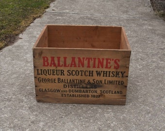Vintage Ballantines Scotch Whiskey Crate