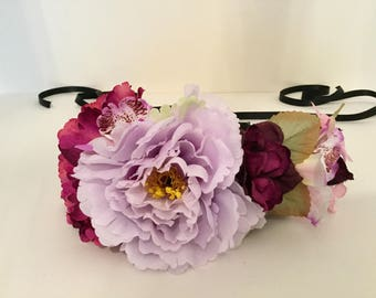 Lilac and magenta peony flower crown.
