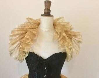 Gold lace neck ruff - Opera shrug - Circus costume - Burlesque - Masquerade costume.