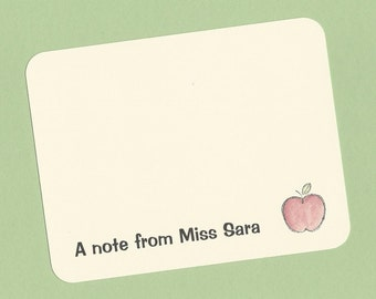 Apple Teacher Note Cards - Thank You Notes and Classroom Correspondence