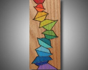 "3.5"" x 8.25"" original art on oak - Prismacolor pencil on oak - original design wood burned onto oak - pyrography home decor ""Tipping Point"""