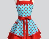 Ruffled Retro Pinup Apron - Sexy Turquoise and Red Polka Dot Womans Flirty Rockabilly Vintage Style Cute Apron to Personalize or Monogram