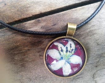 White Lily Hand Painted Floral Pendant