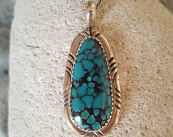 New Listing Sale...Stunning Spider Web Turquoise Sterling Silver 925 Native American Pendant. Navajo Pendant. Native American 925 Turquoise