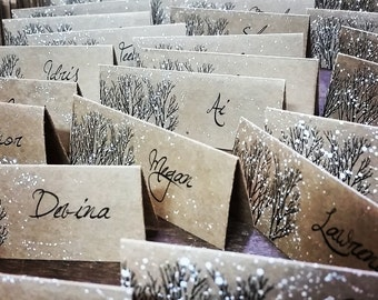 Winter Wedding place card hand painted tree place cards