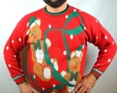 Ultimate 80s Knit Teddy Bear Christmas Sweater