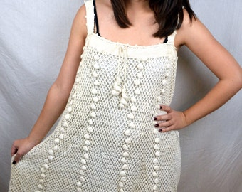 Vintage 1980s Crochet Fun Dress - Made in the Philippines. - Andrea Danimel