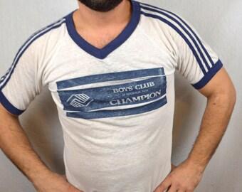 Super Soft Thin  Vintage 80s Ringer Tee Shirt Tshirt - Boy's Club Champion