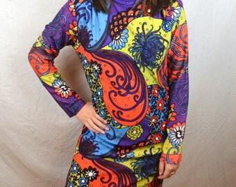 Fun Vintage Psychedelic 60s 70s Swirl Rainbow Dress