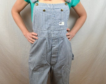 Vintage Sears Work Clothing Union Made Hickory Stripe Railroader Striped Denim Overalls