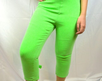 Vintage 80s Stretchy Bright Lime Neon Green Jeans - Stop! Fashion