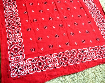 Vintage Color Fast Red Cotton Bandana Kerchief - #S2