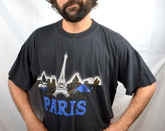 Vintage 1980s 80s Boxy Eiffel Tower Paris France Tee Tshirt