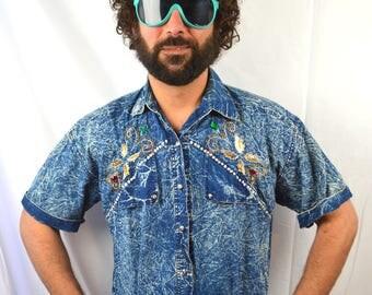 Vintage 80s Acid Wash Bejeweled Fancy Button Up Shirt