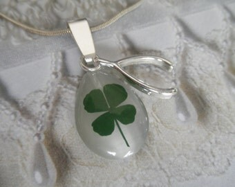 Real 4 Leaf Clover White Cat's Eye Teardrop Pendant w/Wishbone Charm-Gifts Under 30-Nature's Wearable Art-Symbolizes Luck, Love, Hope, Faith