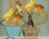 Vintage Rabbits & Chicks Easter Printable Digital Instant Download