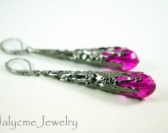 Long Hot Pink Earrings Victorian Dangle Earrings Dark Silver Gunmetal Cone Filigree Earrings Long Drop Earrings