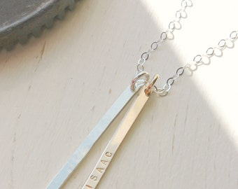 Long Vertical Two Bar Necklace with names, personalized gift for mom, silver and gold filled, skinny long bar necklace, two kids necklace