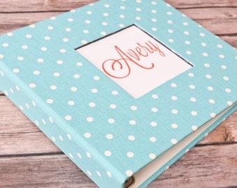 Baby Book, Baby Gift, Baby Album, Baby Memory Book, Baby Keepsake, Modern Baby Book, Blue Mini Dot