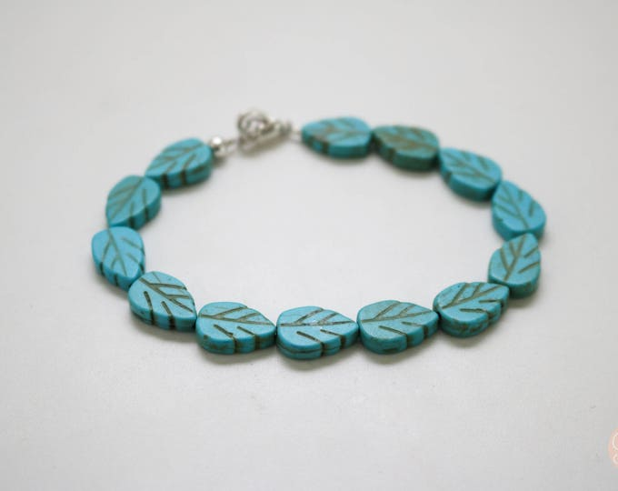 Turquoise Beaded Leaf bracelet.