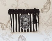 Gothic Voodoo pouch black stripes purse make up bag steampunk skull macabre apothecary label
