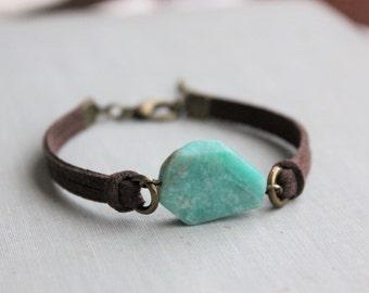 Amazonite Suede Bracelet