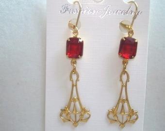 Red Stone  Gold Tone  Dangle Earrings KL Design