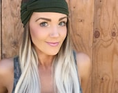 Boho Olive Green Turban Headband || Stretch Yoga Workout Jersey Knit Cotton Gray Hair Band Bohemian Festival Accessory Girl Woman