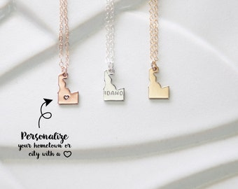 Home State Idaho Necklace Gold, Rose Gold Idaho Charm Bracelet, Idaho Bracelet State, Gold Idaho Dainty Necklace, Idaho Silver State
