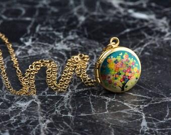 Miniature Locket, Tree Necklace, Locket Kid's Necklace, Flower Girl Locket, Silver Child's Locket