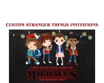 Stranger thing invit etsy stranger things invitation custom stranger things netflix party 5x7 shower invites sci stopboris Images