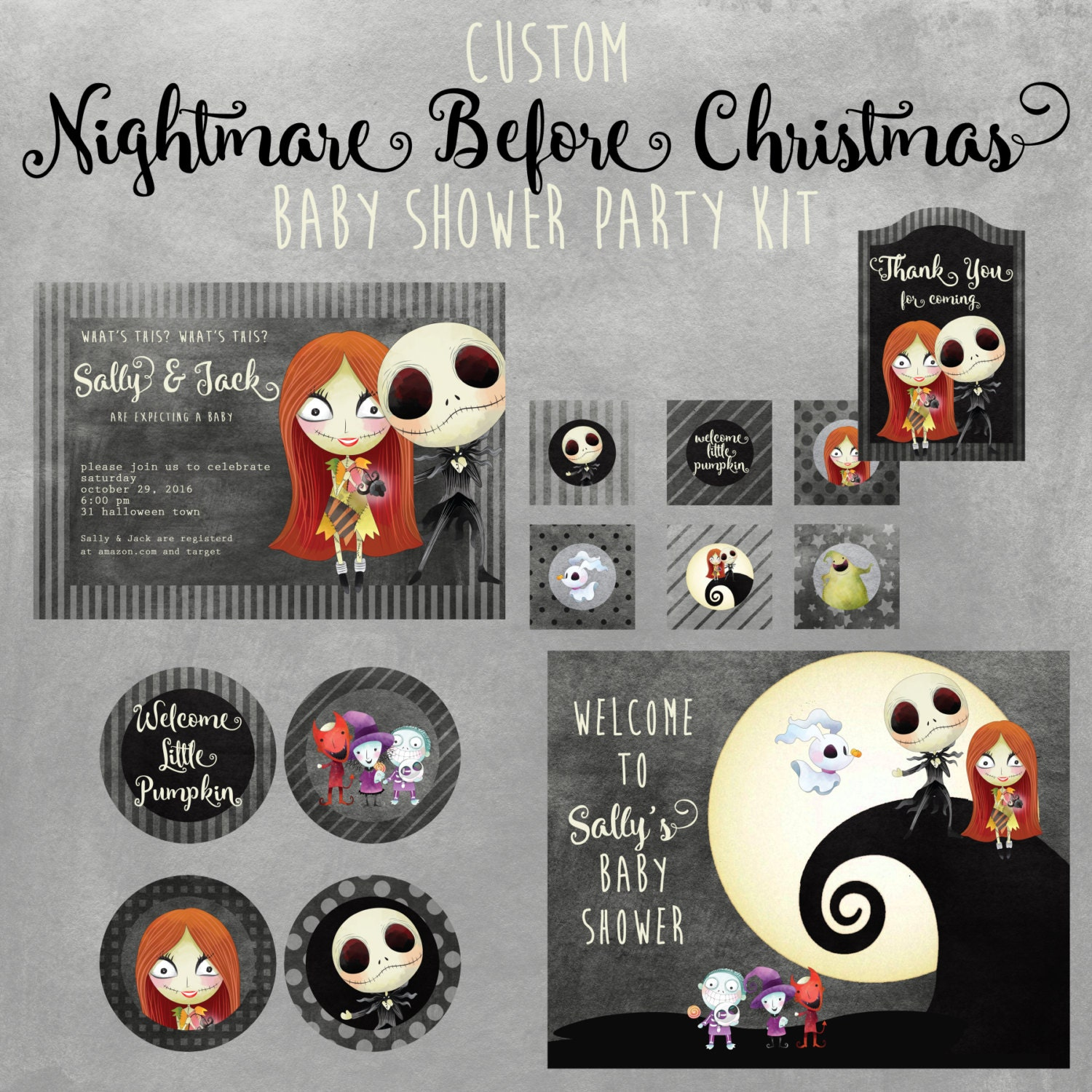 nightmare before christmas baby shower printable kit custom