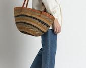 Vintage 70s Woven Jute Half-Moon Striped Market Bag
