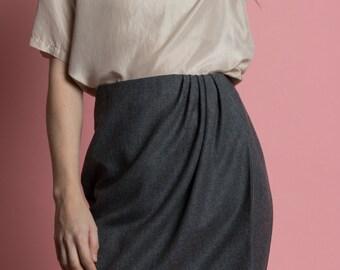Vintage 90s Buscati Wool Wrap Mini Skirt | 4/6