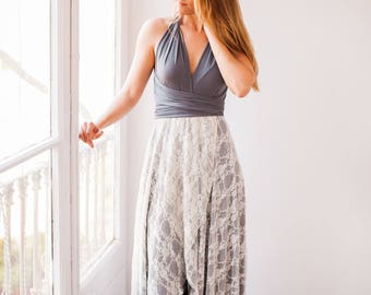 White asymmetrical lace skirt, lace wedding skirt, overlay lace skirt, detachable skirt for wedding dress, white high-low skirt in lace