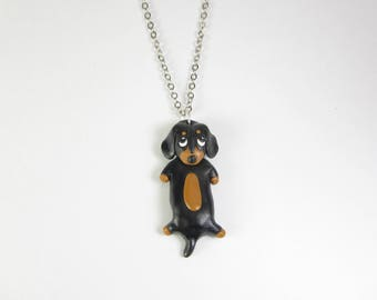 Dachshund necklace, Dachshund jewelry, Dachshund gift, dog necklace, polymer clay animal, dog lover gift, dog jewelry, cute Doxie Weiner