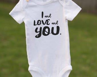 I and Love and You Onesie / Avett Brothers Onesie / Infant Bodysuit / Avett Fan Art / Avett Inspired Onesie /  Avett Brothers Baby Gift