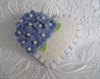 Felt Flower Brooch Valentines Day Heart Wool Felted Blue Flowers