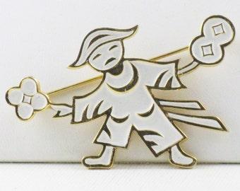 Vintage Trifari Figural White Enameled Oriental Asian Woman Brooch Pin (B-2-1)