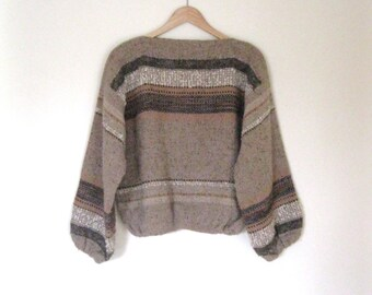Vintage 70s hand loomed sweater / Earthen Hippie Boho woven natural wool sweater