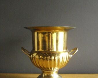 Ice Ice Baby - Vintage Brass Ice Bucket, Wine Bucket - or Gorgeous Brass Planter - Large Brass Urn