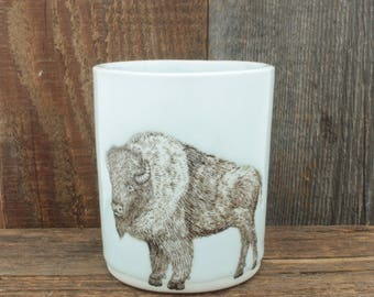 Large White Bison Cup. 12 oz Buffalo Canister. Handmade Porcelain High Fired Pencil Cup/Toothbrush Holder, Icy Glaze by SKT Ceramics on Etsy