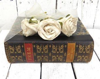 Black Antique Book, European Book, Vintage Book, Old Book Decor, Home Office Decor, Prop, Home Library, Frem, Denmark Book, Elegant Book