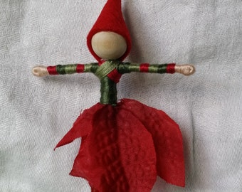 Waldorf Flower Fairy - Christmas Fairy  Funky, Red and green mixed up stockings,  bendy doll, art doll, ornament