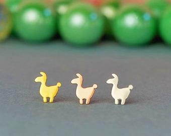 Tiny llama Earrings in solid gold Llama Studs Allpace stud earrings Minimal Jewelry Kid Teen birthday gift Birthday Gift